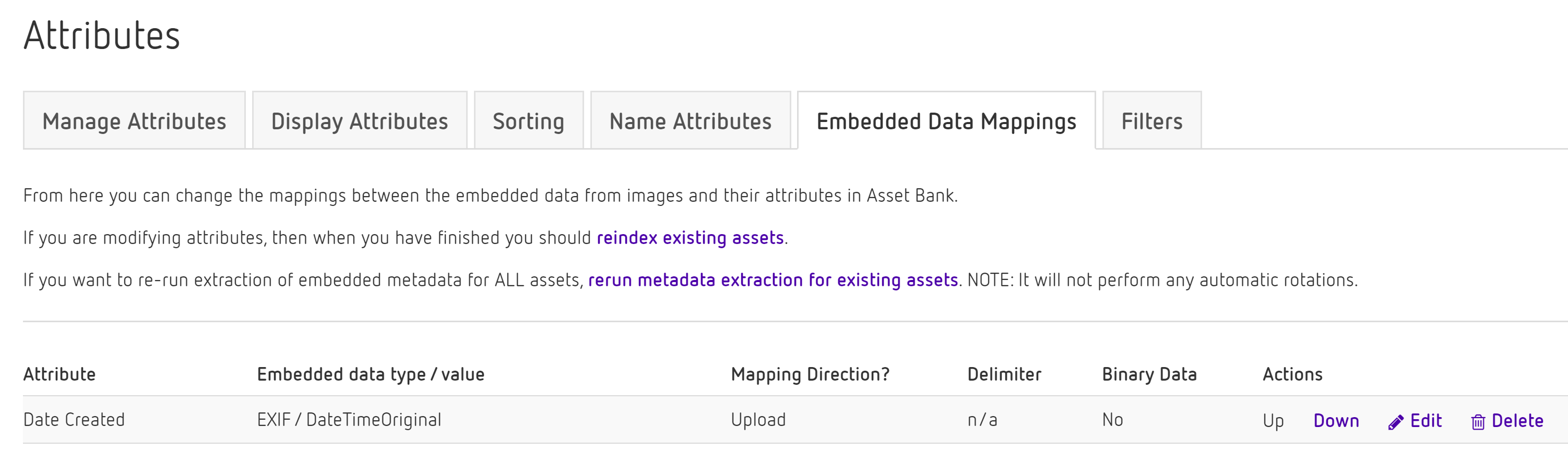 Can Asset Bank use metadata embedded in the image, e g  in